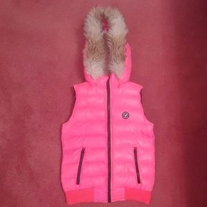 Pink American Eagle Down Vest With Removable Hood